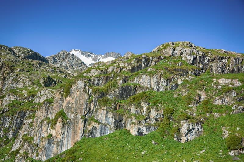 Idyllische Sommerlandschaft mit Wanderweg in den Bergen mit schönen neuen grünen Sommerweiden und Gebirgsspitzen lizenzfreie stockfotografie