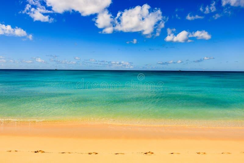 Idyllisk eftermiddag på stranden i Barbados arkivbild