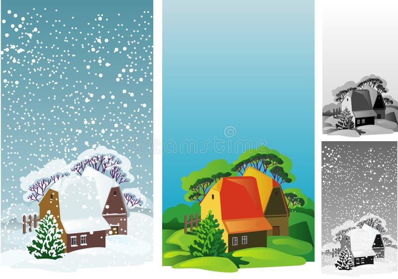 idyllisk liggande för hus vektor illustrationer
