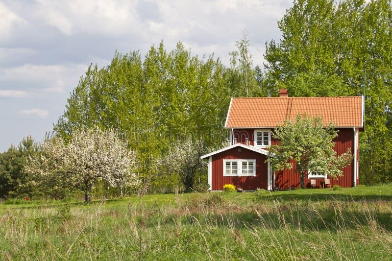 idyllisk sommar sweden för hus royaltyfria foton