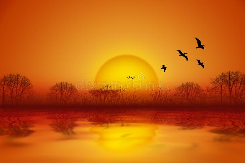 Idyllisk sommarseascape med ljus solnedgång över sjön stock illustrationer