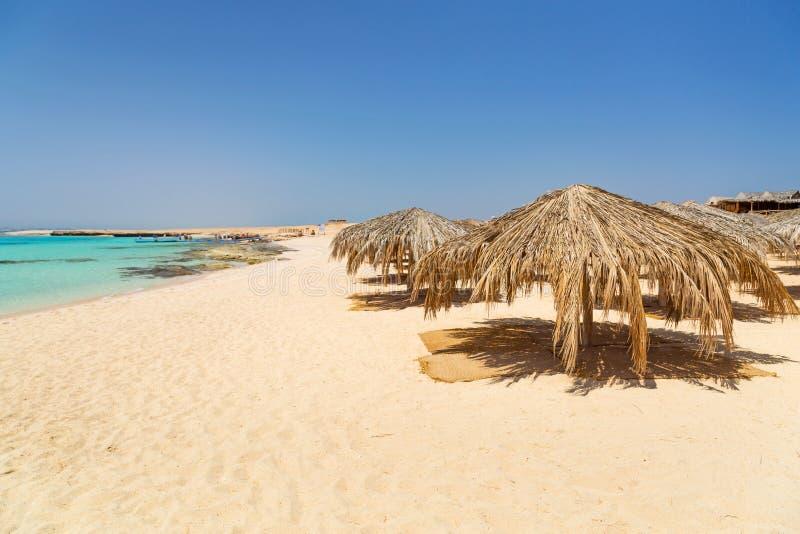 Idyllisk strand av den Mahmya ön med turkosvatten royaltyfria bilder
