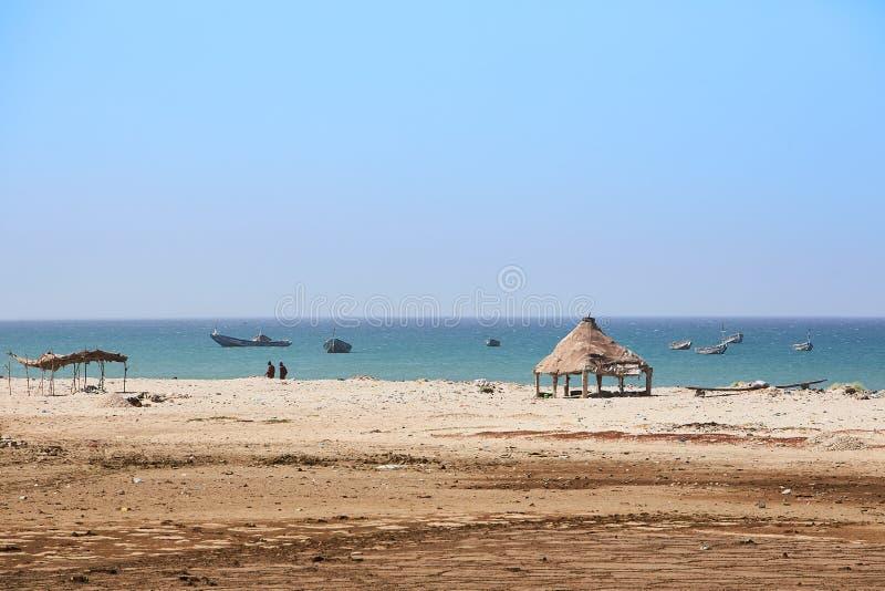 Idyllisk strand i den Senegal precis norden av Dakar arkivfoto