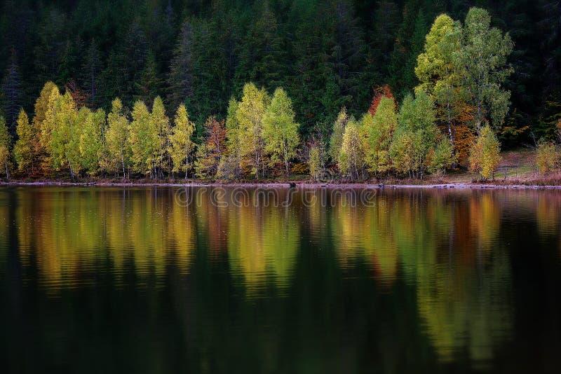 Idylliskt höstlandskap i Transylvania, Sfanta Ana Lake royaltyfria foton