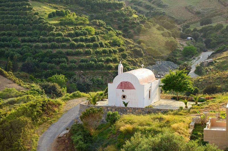 Idylliskt landsbygdslandskap med kullar täckta av olivträd och en liten fredlig ortodoxa kyrka i vackert solljus, Kreta. royaltyfri foto
