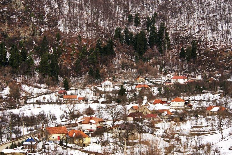 Idylliskt landskap för vinter i de Carpathians bergen royaltyfria foton