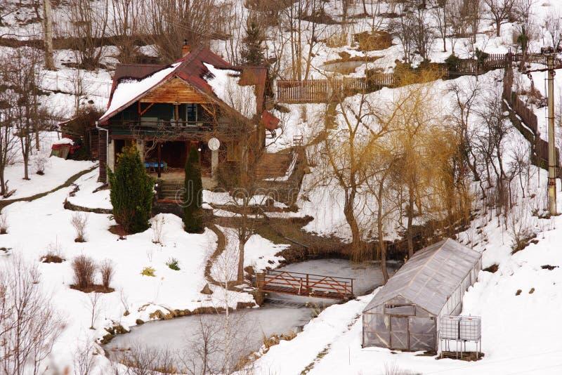 Idylliskt landskap för vinter i de Carpathians bergen royaltyfri fotografi