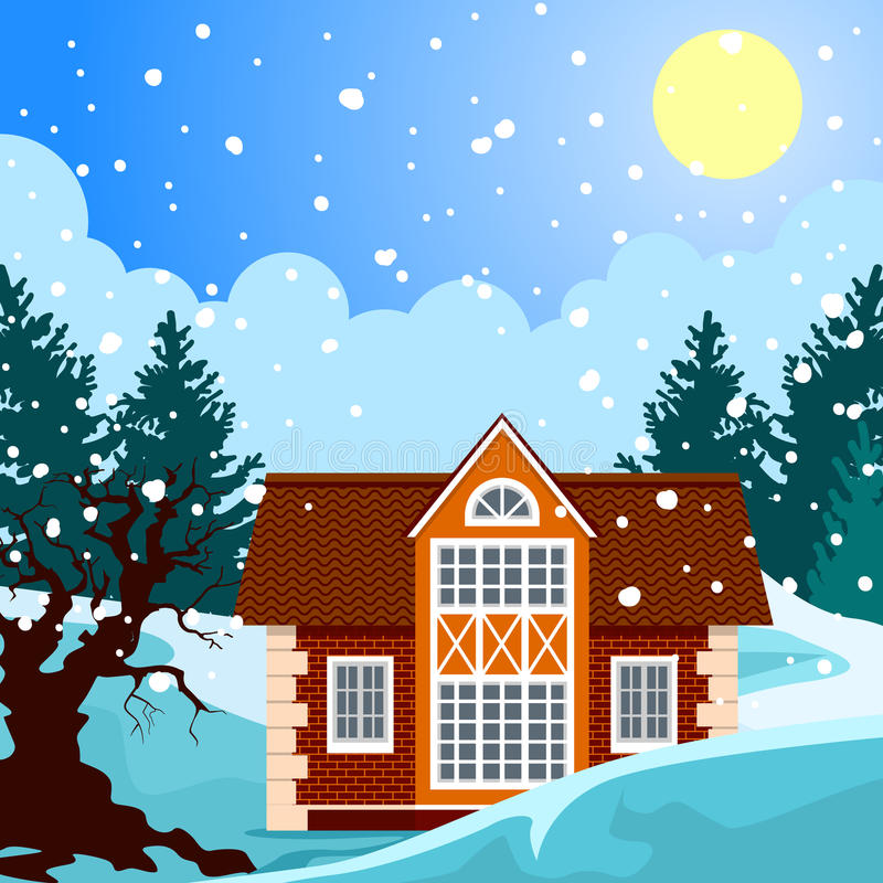 Idylliskt vinterlandskap royaltyfri illustrationer