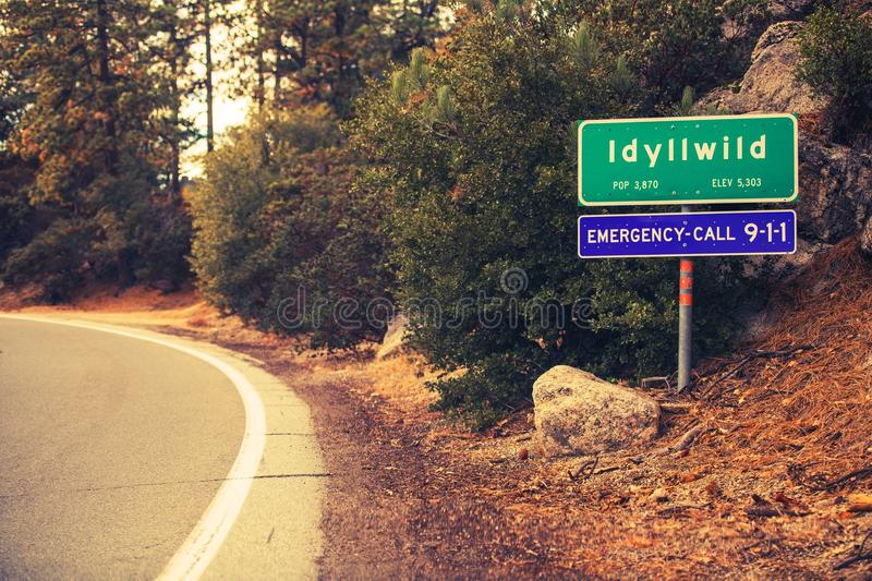 Idyllwild City Limits. Road Sign. Village of Idyllwild in the San Jacinto Mountains in Riverside County, California, United States royalty free stock images