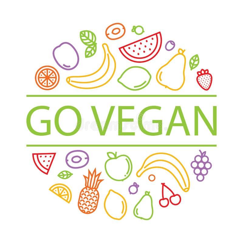 idzie weganin Owoc i jagody odizolowywali wektorową ilustrację dla menu ilustracja wektor
