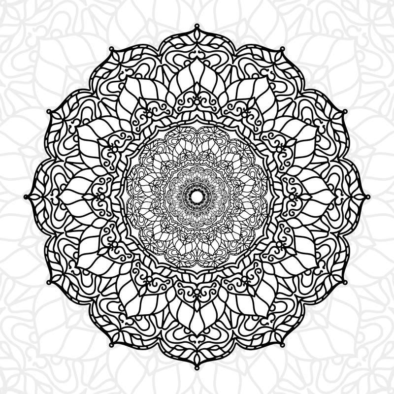 Ied unikt texturbruk för den abstrakta mandalaen för tapettryck- och dekorbeståndsdelen, ramadan kareem, muabrak, tatueringen, di royaltyfri illustrationer