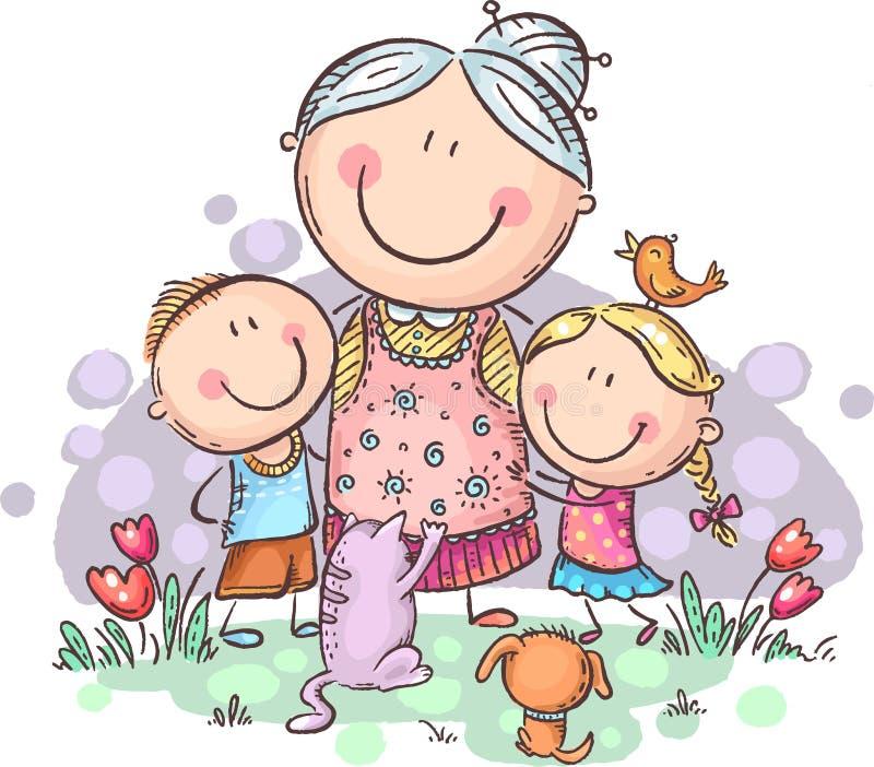 Iedereen houdt van oma, grandchilren de grootmoeder met en huisdieren, kleurrijke vector clipart royalty-vrije illustratie