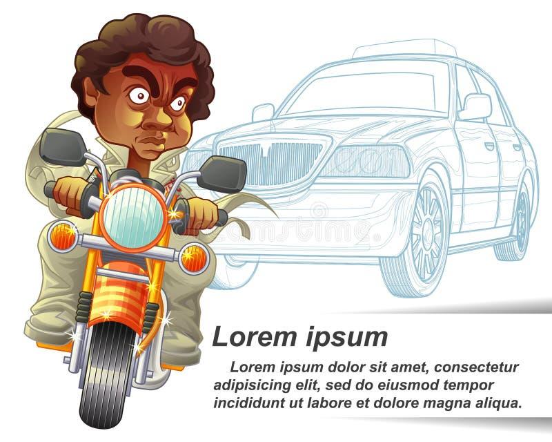 Iemand berijdt motorfiets en politiewagenoverzichtsachtergrond vector illustratie