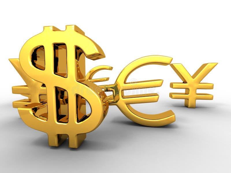 Ienes, dólar, euro-. Sinais ilustração royalty free