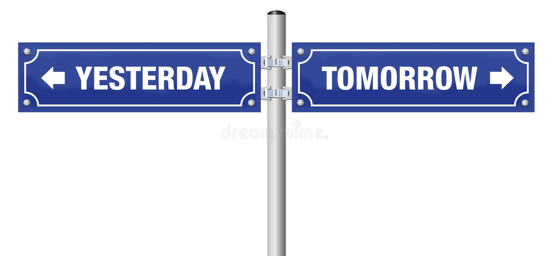 Ieri domani segnale stradale illustrazione vettoriale