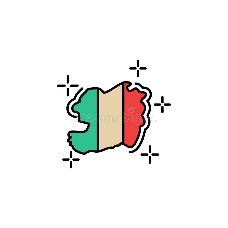 Ierland, land, kaartpictogram Element van kleurenst Patricks dagpictogram Grafisch het ontwerppictogram van de premiekwaliteit Te vector illustratie