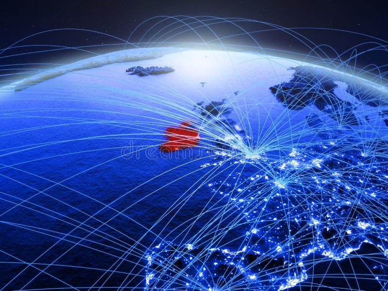 Ierland op blauwe digitale aarde met internationaal netwerk die mededeling, reis en verbindingen vertegenwoordigen 3d royalty-vrije stock afbeeldingen