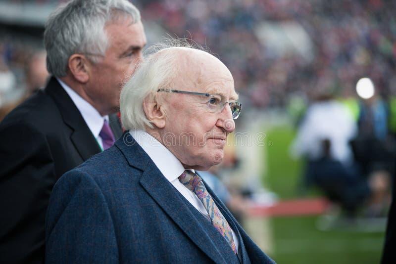 Ierland President Michael D Higgins bij de hoogte van Pairc Ui Chaoimh voor de Liam Miller Tribute-gelijke royalty-vrije stock foto