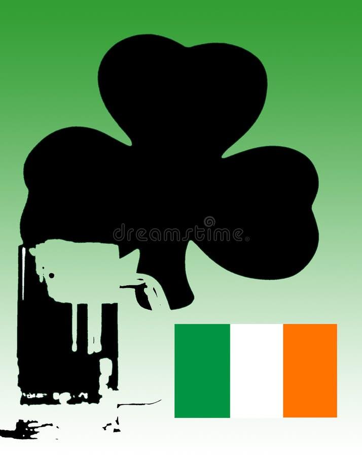 Iers Groen Bier met Klaver en Vlag stock illustratie