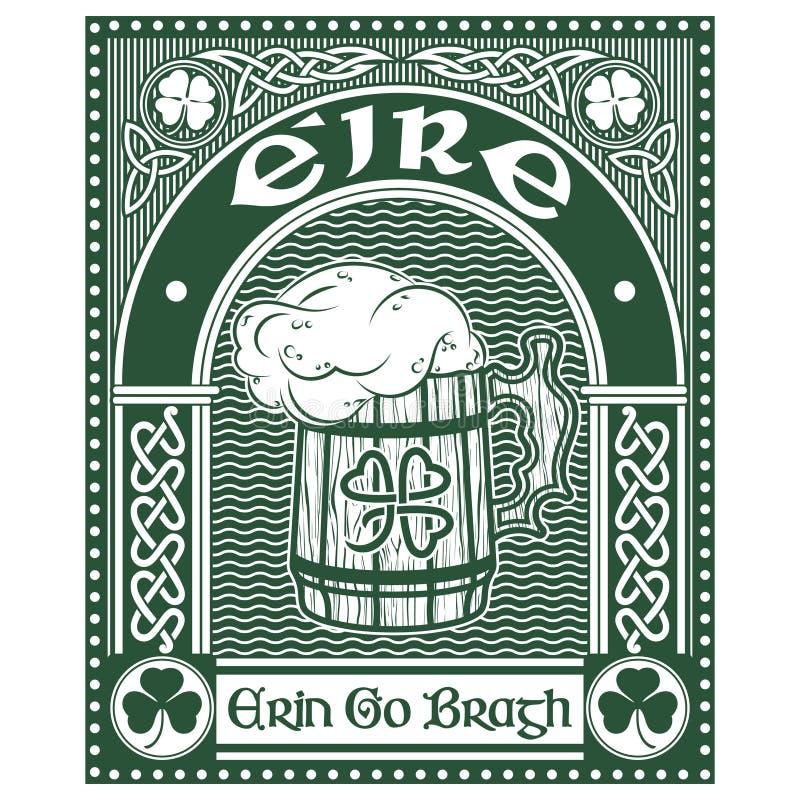 Iers Keltisch ontwerp, klaver In Keltische stijl, mok bier en slogan Erin Go Bragh, illustratie op het thema van St vector illustratie