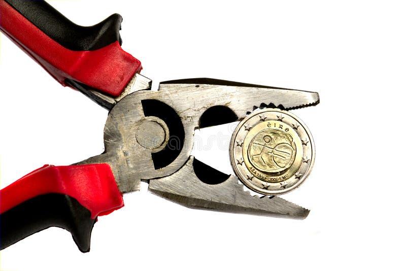Ierse euro onder druk royalty-vrije stock foto's