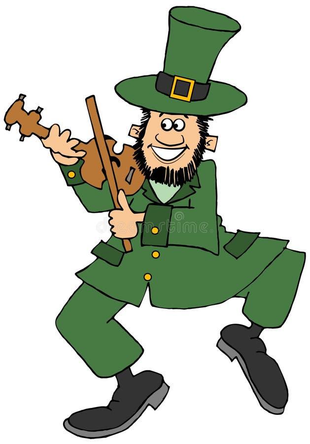 Ierse kabouter die fiddle spelen vector illustratie