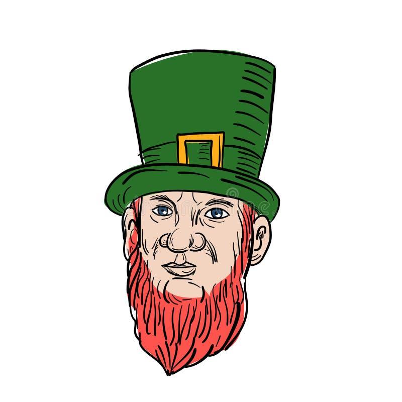 Ierse Kabouter die Hoge zijdentekening dragen stock illustratie