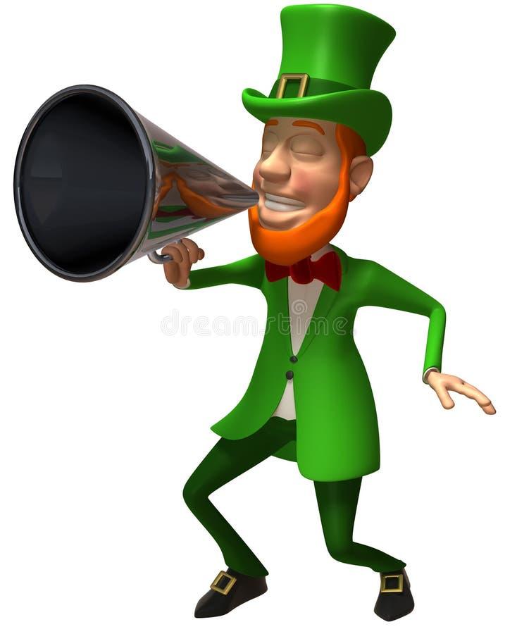 Ierse kabouter met een megafoon royalty-vrije illustratie