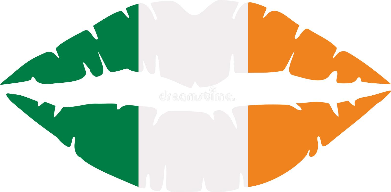 Ierse lippen in kleuren van de vlag van Ierland vector illustratie