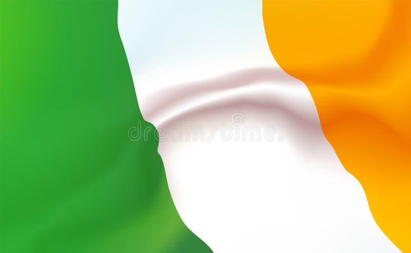 Ierse Vlag als achtergrond in vouwen Tricolour banner Wimpel met strepenconcept omhoog dicht, standaardierland Westelijk Europa royalty-vrije illustratie