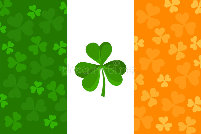 Ierse vlag met klaverpatroon. stock illustratie