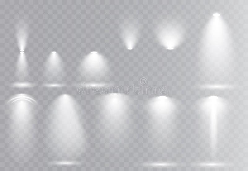 Vector light sources, concert lighting, stage beam spotlights set  lens flash effect. stock illustration