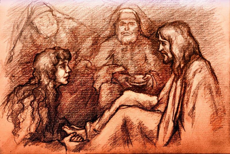 Iesus基督和玛丽妓女收容所 皇族释放例证