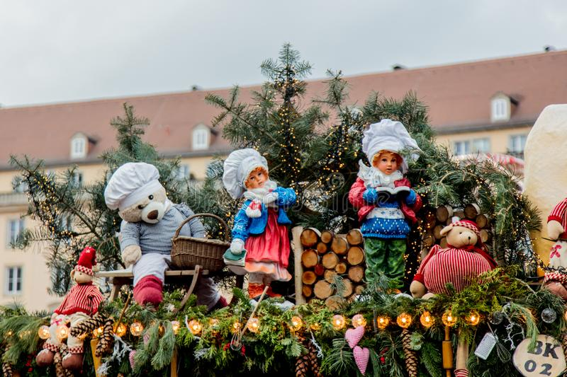 Iew of the Christmas decorations, toys and scenery houses on the Christmas market in Dresden on the square Altmarkt. Dresden, Germany - december 14, 2018: view stock photo