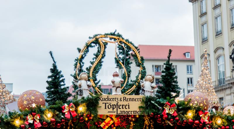 Iew of the Christmas decorations, toys and scenery houses on the Christmas market in Dresden on the square Altmarkt. Dresden, Germany - december 14, 2018: view stock image
