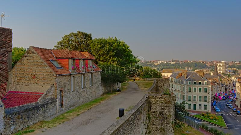iew des murs ity de Boulogne sur Mer, France, vue de ci-dessus des murs de ville images stock