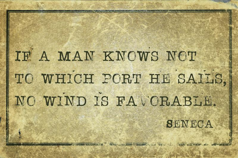 No wind Seneca. If a man knows not to which port he sails - ancient Roman philosopher Seneca quote printed on grunge vintage cardboard vector illustration