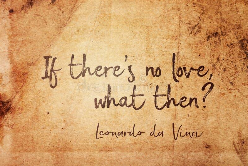 If no love Leonardo. If there`s no love, what then? - ancient Italian artist Leonardo da Vinci quote printed on vintage grunge paper royalty free stock image