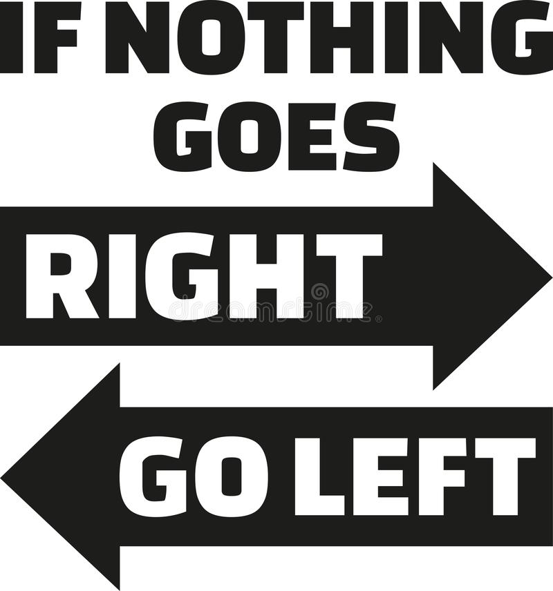If nothing goes right, go left. Life Motivation quote. Vector vector illustration