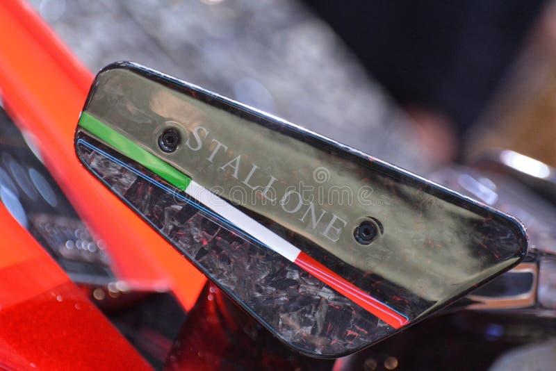 88th Geneva International Motor Show 2018 - Mansory Ferrari 812 Superfast Stallone rear spoiler royalty free stock photo