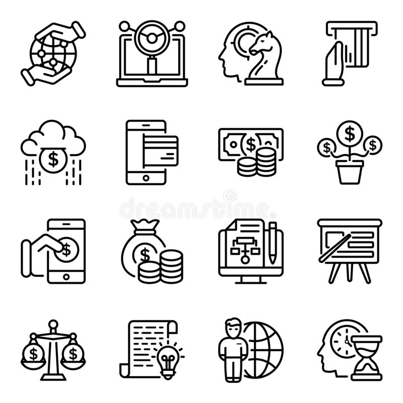 Pack Of Investment Line Icons royalty free illustration