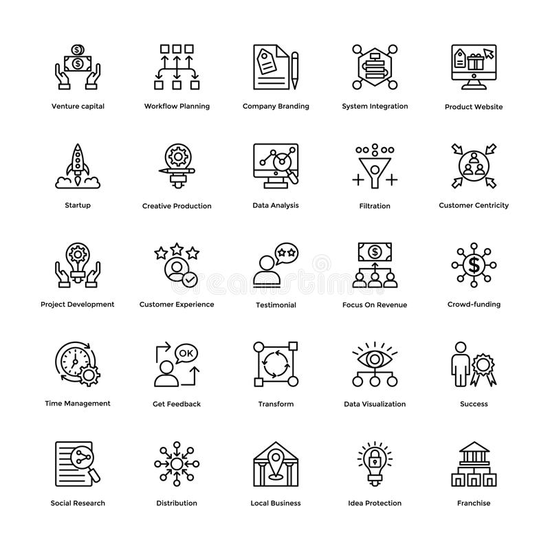 Project Management Line Vector Icons Set 5. If you were just about giving up and thinking of hiring a professional to create marvelous project management icons stock illustration