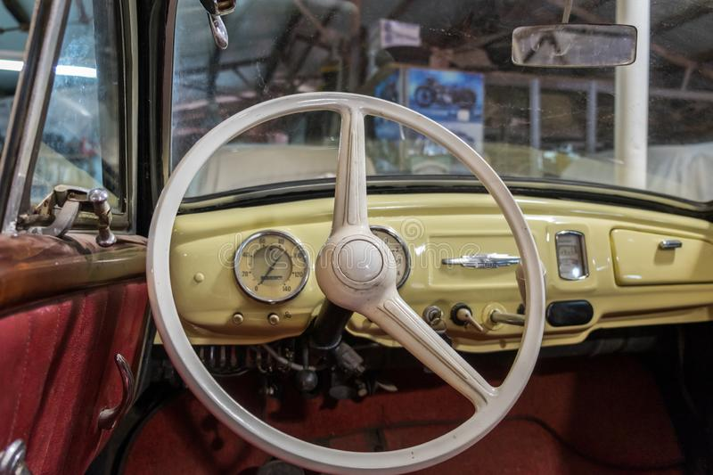 IFA F9 Cabrio-Limousine 1954 vintage steering wheel and dashboard stock images