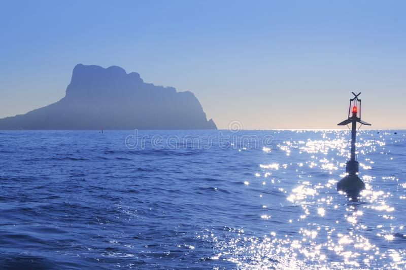 Ifach Penon Mountain From Calpe Blue Fog Backlight Stock Photos