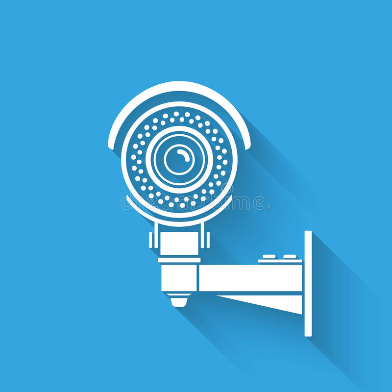 Ifrared cctv. Ifrared white cctv icon with shadow. Isolated on blue royalty free illustration