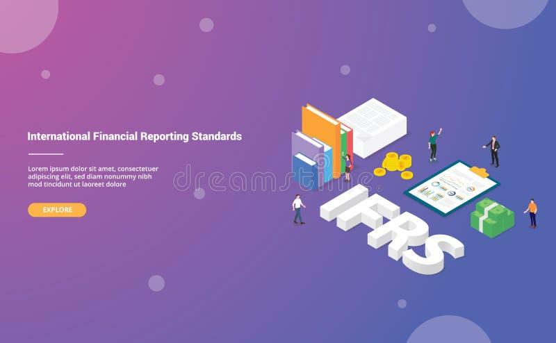 Ifrs het internationale concept van financiële verslagleggingsnormen voor websitemalplaatje of landende homepage met isometrische vector illustratie