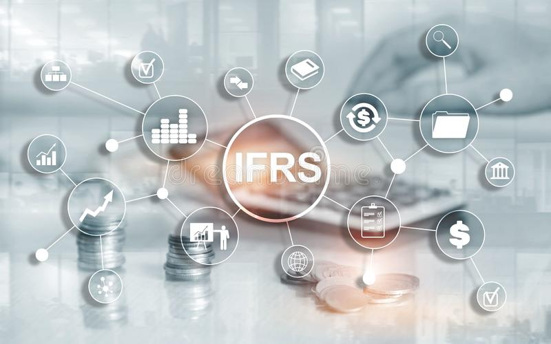 IFRS International Financial Reporting Standards Regulation instrument. IFRS International Financial Reporting Standards Regulation instrument vector illustration