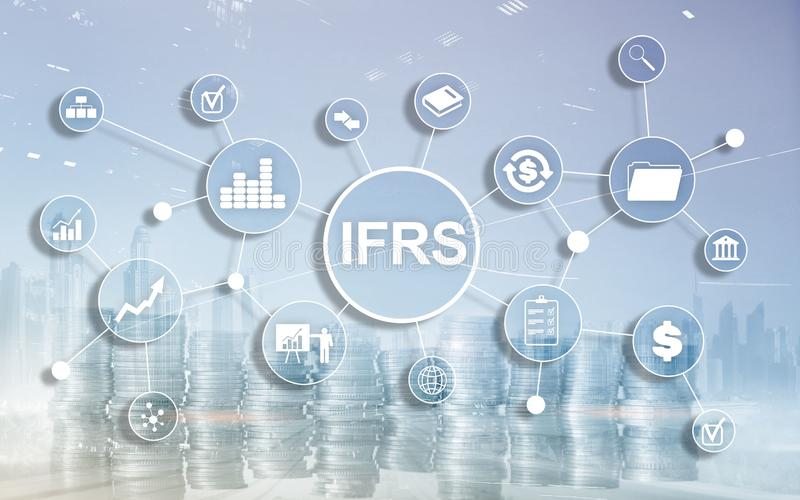 IFRS International Financial Reporting Standards Regulation instrument. IFRS International Financial Reporting Standards Regulation instrument stock image