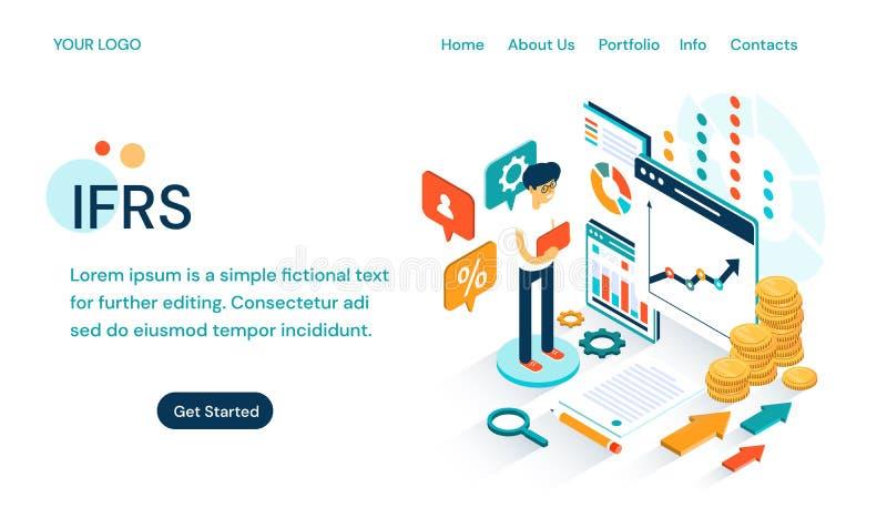 IFRS - Międzynarodowy sprawozdawczość finansowa standardów strony internetowej projekta szablon dla ustawiać porównywalnego globa royalty ilustracja