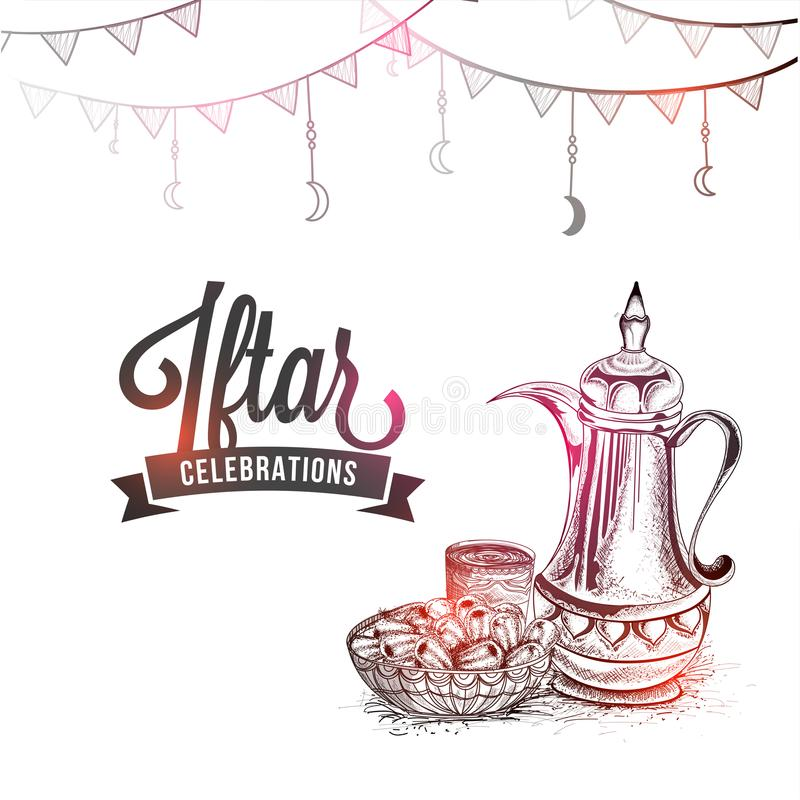 Iftar celebrations concept with traditional jug, dates and styli. Sh text, pencil sketch design vector illustration